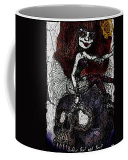 Gothic Girl And Skull Coffee Mug by Akiko Okabe