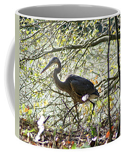 Coffee Mug featuring the photograph Great Blue Heron In Bushes by Karen Silvestri