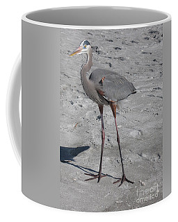 Great Blue Heron On The Beach Coffee Mug by Christiane Schulze Art And Photography