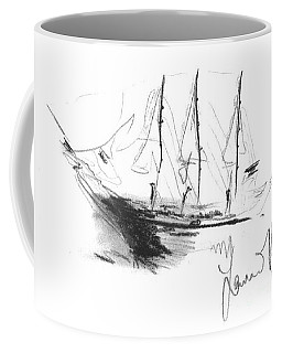 Coffee Mug featuring the drawing Great Men Sailing by Laurie Lundquist