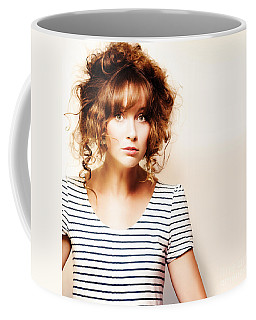 Hairdressing Woman With Knotty Hair Style Coffee Mug