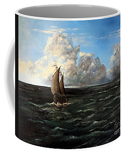 Coffee Mug featuring the painting Heading For Shore by Lee Piper