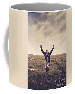Holiday Man Jumping On Rural Australia Landscape Coffee Mug