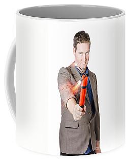 Hostile Male Office Worker Holding Flaming Bomb Coffee Mug