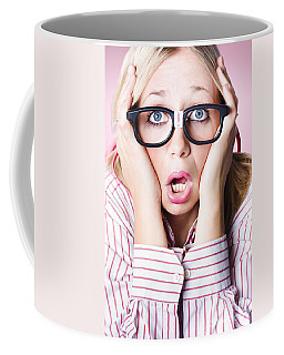 Hysterical Business Woman Having Panic Attack Coffee Mug