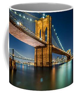 Illuminated Brooklyn Bridge By Night Coffee Mug