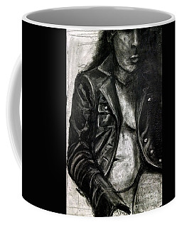 Coffee Mug featuring the drawing Leather Jacket by Gabrielle Wilson-Sealy