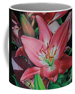Coffee Mug featuring the painting Lily's Garden by Pamela Clements