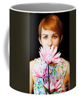 Lovely Woman In Floral Dress Holding Flowers Coffee Mug