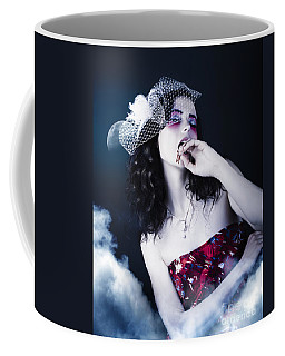 Makeup Beauty With Gothic Hair And Bloody Mouth Coffee Mug