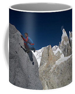 Man In Spiderman Suit Climbs In Front Coffee Mug