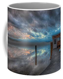 Melvin Village Marina In The Fog Coffee Mug