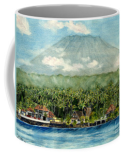 Coffee Mug featuring the painting Mt. Agung Bali Indonesia by Melly Terpening