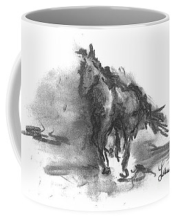 Coffee Mug featuring the drawing My Stallion by Laurie Lundquist