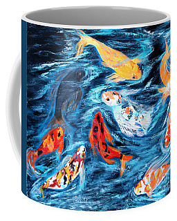 Good  Luck Painting. Nine Koi Fish. Inspirations Collection. Coffee Mug