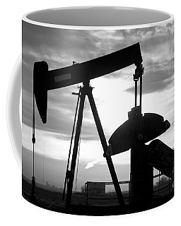 Oil Well Pump Jack Black And White Coffee Mug