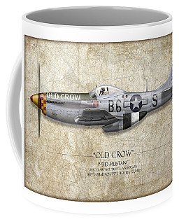 Old Crow P-51 Mustang - Map Background Coffee Mug
