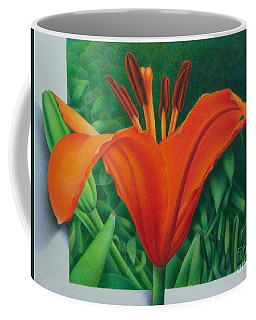 Coffee Mug featuring the painting Orange Lily by Pamela Clements