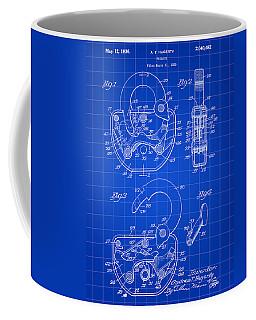 Padlock Patent 1935 - Blue Coffee Mug by Stephen Younts