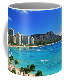 Palm Trees On The Beach, Diamond Head Coffee Mug