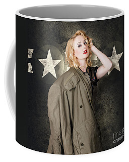 Pinup Girl In Retro Model Makeup And 60s Hairstyle Coffee Mug