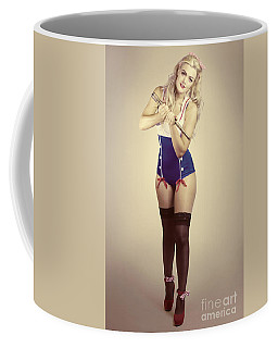 Pinup Sailor Girl With Antique Telescope Coffee Mug