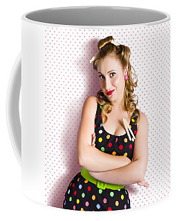 Pretty Retro Cleaning Lady On Polka Dot Background Coffee Mug