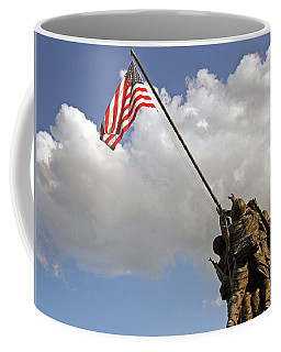Coffee Mug featuring the photograph Raising The American Flag by Cora Wandel