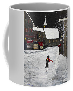 Red Scarf Winter Scene Coffee Mug by Dick Bourgault
