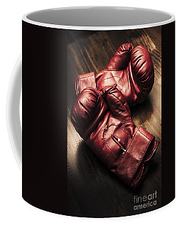 Retro Red Boxing Gloves On Wooden Training Bench Coffee Mug
