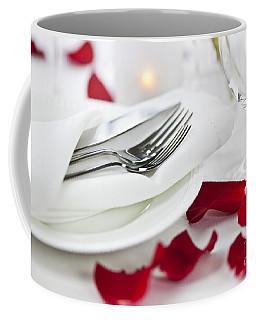 Romantic Dinner Setting With Rose Petals Coffee Mug