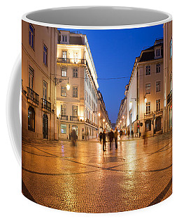 Rua Augusta Street At Night In Lisbon Coffee Mug