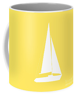 Sailboat In Yellow And White Coffee Mug