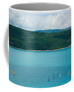 Sailboats On The Lake, Lac De Sainte Coffee Mug