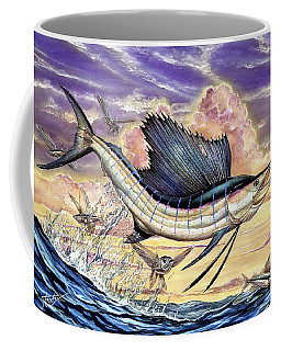 Sailfish And Flying Fish In The Sunset Coffee Mug