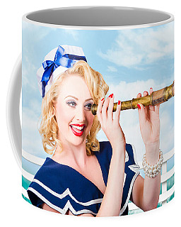 Sailor Girl Pin-up Looking Through Telescope Coffee Mug