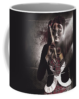 Scary Zombie School Student Holding Monster Pencil Coffee Mug
