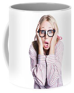Shocked Business Woman On White Coffee Mug