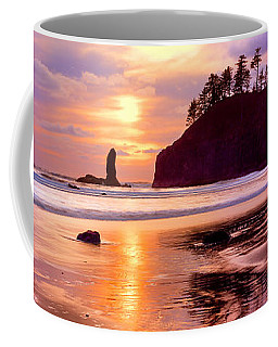 Silhouette Of Sea Stacks At Sunset Coffee Mug