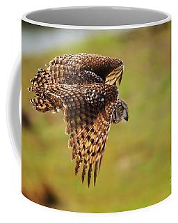Spotted Eagle Owl In Flight Coffee Mug