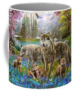 Spring Wolf Family Coffee Mug