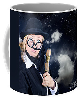 Star Gazing Astronomer With Vintage Telescope Coffee Mug