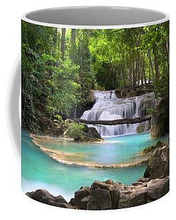 Stream With Waterfall In Tropical Forest Coffee Mug