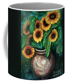 Coffee Mug featuring the pastel Sunflowers by Jasna Dragun