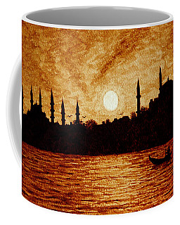 Coffee Mug featuring the painting Sunset Over Istanbul Original Coffee Painting by Georgeta  Blanaru
