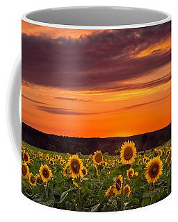 Sunset Over Sunflowers Coffee Mug