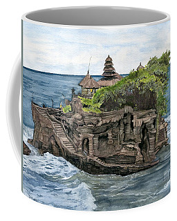 Coffee Mug featuring the painting Tanah Lot Temple Bali Indonesia by Melly Terpening