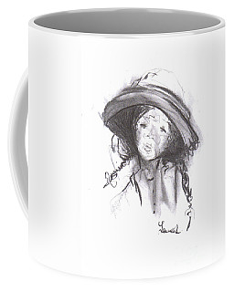 Coffee Mug featuring the drawing The Bonnet by Laurie Lundquist