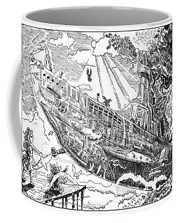 Coffee Mug featuring the drawing The Flying Submarine by Reynold Jay