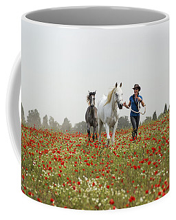 Three At The Poppies' Field... 3 Coffee Mug by Dubi Roman